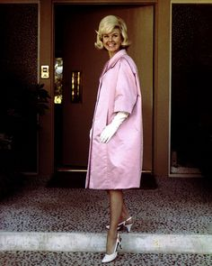 Doris Day    Actress Doris Day wearing a Givenchy creation during a visit to Paris,July 1960.