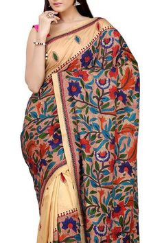 Lovely multicoloured kantha saree