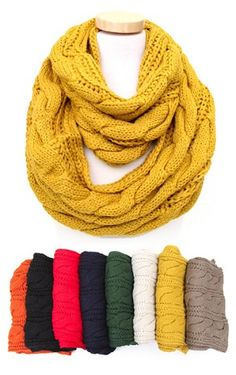 Cable Knit Infinity Scarf $18 - i love the yellow and taupe...maybe IVORY