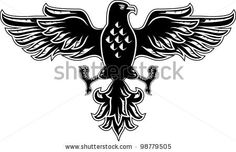 stock vector : Eagle symbol isolated on white for tattoo design