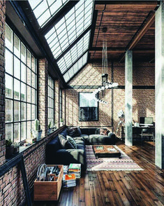 creatively industrial interior design ideas for house or office 7 ⋆ aviatech. Industrial Apartment, Industrial Interior Design, Industrial Interiors, Industrial House, Home Interior Design, Interior Architecture, Industrial Chic Decor, Industrial Windows, Interior Design Sketches