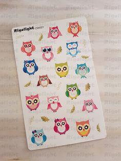 Owl Sticker | Deco stickers | Planner stickers for Erin Condren, Kikki.K, Happy Planner, Plum Planner by Rigolight on Etsy