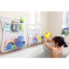 bath toy   4 pockets strong storage mesh bag set hanging bathroom organizer with bath toys   large strong storage mesh bag 18 x 14 inch mold      rh   pinterest
