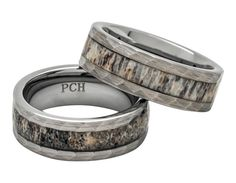 Deer Antler Ring in Tungsten Hammered Finish 8mm by PCHJewelers