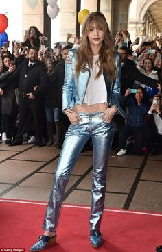 All eyes on her: Gigi Hadid was the centre of attention at Milan Fashion Week on Friday, s...