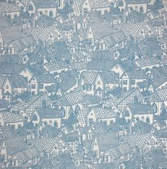 blue houses. 1960s wallpaper from inez croom.