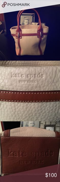 Kate Spade cream and tan leather handbag This is a nice little kate spade handbag. It's not too small and not too big. In perfect condition. kate spade Bags Satchels