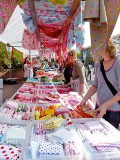 Fabric market in northern Germany.