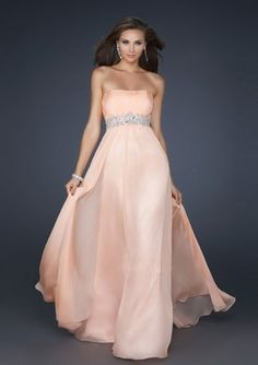 c9ffcce931 A-line Strapless Crystal Beaded Waistband Empire Floor-length Prom Dresses  Prom Dresses Under