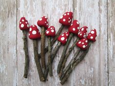 Set of 3 - Miniature Fairy Garden Mushrooms . Fairy Garden Accessories