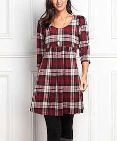 Look what I found on #zulily! Red Plaid Empire-Waist Tunic Dress by Reborn Collection #zulilyfinds