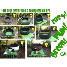 Recycling ideas make a planter from an old tire. Old Tire Planters, Large Planters, Recycled Planters, Large Pots, Outdoor Projects, Garden Projects, Tire Craft, Reuse Old Tires, Recycled Tires