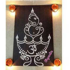 Simple Ganapati rangoli for ganesh chaturthi ...diya/deep/samayi theme rangoli