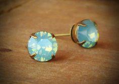 Seafoam Green Opal Rhinestone Stud Earrings, Mint, Hemlock, Swarovski