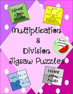These jigsaw puzzles come with two different types of activities.  One of the sets allows your students to use multiplication and division to…