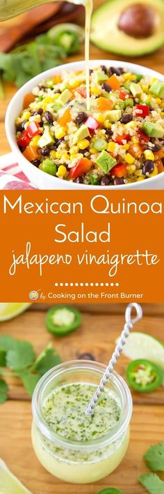 This Mexican Quinoa salad is full of fresh ingredients and has a zippy jalapeno vinaigrette! Perfect for a side or main dish.