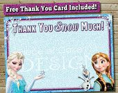 FREE Frozen Thank You Card, With Purchase of Photo Birthday Invitation, Queen Elsa, Princess Anna, Olaf, Thank You SNOW MUCH!