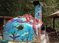 Oven Mosaic so far. Named the octopus Ringo..... Octopuses garden by Ringo Starr