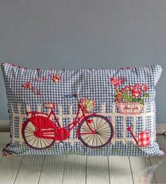 """Embroidery Blessings Ideas ~Have A Blessed Day~ """"Old Fashion Vintage Farmer's Wife"""" ~~Bicycle Cushion Applique Cushions, Cute Cushions, Cute Pillows, Sewing Pillows, Owl Pillows, Burlap Pillows, Applique Patterns, Embroidery Applique, Machine Embroidery"""