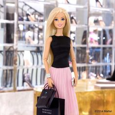 A visit to the new shoe department at @BarneysNYOfficial in Beverly Hills, filled my #LASTORIES shopping bag, and my Saturday is complete! #barbie #barbiestyle