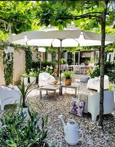 x tuininspiratie: de mooiste tuinen gespot op Gravel yard with trees for shadeGravel yard with trees for shade Dream Garden, Home And Garden, Parasols, Most Beautiful Gardens, Shade Trees, Outdoor Living, Outdoor Decor, Garden Care, Balcony Garden