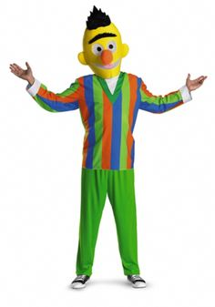 Bert Sesame Street Teen Halloween costume - Sunny Day, sweeping the clouds away.... Fun and super comfortable to wear, this awesome Bert costume consists of 3 pieces. His Green pants and orange, green and blue horizontal striped shirt are made from a soft nylon material. The shirt has white cuffs and a turtleneck collar. The poly-foam head is over the top and very comical. #sesamestreet #teen #costume #yyc #calgary