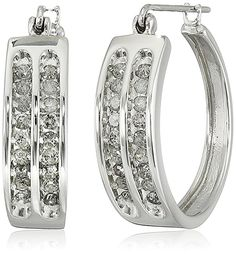 10k White Gold Diamond Hoop Earrings (1/2cttw, I-J Color, I3 Clarity)