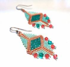 Sterling Silver Mermaids Treasure Earrings - Beaded Copper and Turquoise - Swarovski Crystals