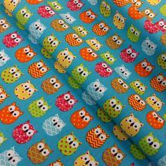 Tissu mini hiboux 25x160 cm multicolore fond turquoise