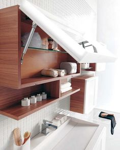 "Would a lift-up medicine cabinet be a good idea for 3rd floor bathroom??  (i.e. this idea, but a different ""look"")"