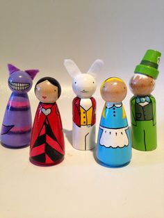 Alice in Wonderland Peg Dolls by sunshineclementine on Etsy, $42.00