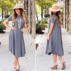 """Anytime, Any place"" A-line t-shirt dress (charcoal)"