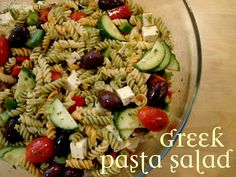 Greek Pasta Salad.  My friend Steph`s recipe from stephssilverboxes.  Seriously the best greek salad.  Ever.