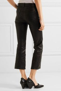 J Brand - Selena Cropped Stretch-leather Flared Pants - Black - 30