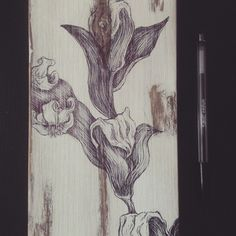 floral drawing on shabby wood www.facebook.com/materieprimedesign