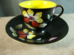 Vintage Chugai China Demitasse Teacup and Saucer Floral on Black Occupied Japan #ChugaiChina