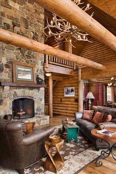 great idea for the position of the sofa in front of the woodstove; can see kitchen area easier