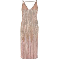 roségouden metallic geplooide midi-jurk - bodyconjurken - jurken - dames