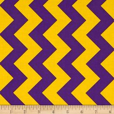 Riley Blake Medium Chevron Purple/Gold from @fabricdotcom  From the RBD Designers for Riley Blake Designs, this cotton print fabric is perfect for quilting, apparel and home décor accents. Chevron stripes run parallel to the selvage. Colors include gold and purple.