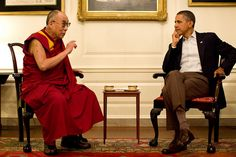 President Barack Obama meets with His Holiness the XIV Dalai Lama in the Map Room of the White House, Saturday, July 16, 2011. http://www.flickr.com/photos/35591378@N03/5943380655#
