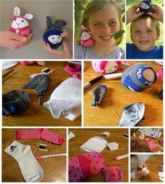 Fun Sock Craft Animal Friend. Using Pink Handmade Animal Stuffed Rabbit. Handmade Sock toy. craft idea. DIY