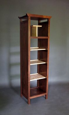 Narrow Bookcase: Tall Display Cabinet, Media Tower, Bookshelves, Room Divider- Wood Furniture for Mid Century Modern Home Office/ Library