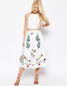 ASOS+Embroidered+Midi+Skirt