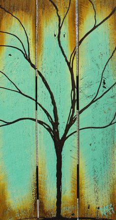 Seasons of Change Series Summer Tree Painting on Reclaimed Wood By Artist Rafi Perez. $75.00, via Etsy.