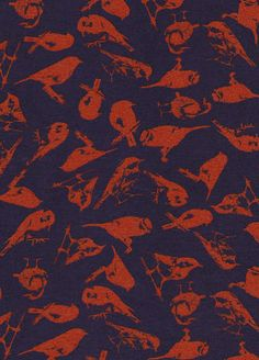 Dark Blue and Red bird printed Viscose and Elastane Jersey