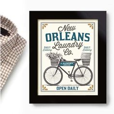 New Orleans Art for Laundry Room Decor Louisiana Bourbon Street... ($20) ❤ liked on Polyvore featuring home, home decor, wall art, grey, home & living, home décor, wall décor, text signs, bicycle wall art and new orleans wall art