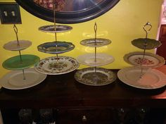 DIY Three Tear Cake Stands with vintage plates!