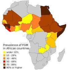 Mappa dei tassi stimati di mutilazioni genitali femminili.