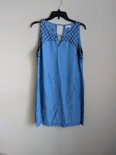 192fe60ce5dc NWT Crown and Ivy Blue Chambray Sleeveless Dress Size 12  fashion  clothing   shoes