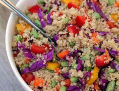 This beautiful veggie-packed quinoa salad is under 350 calories, offering 13 grams of protein and se... - POPSUGAR Photography / Jenny Sugar